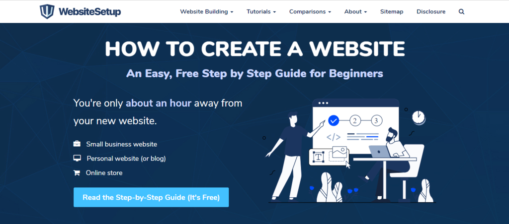 website setup landing page to learn wordpress