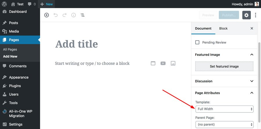 WordPress choose full width template