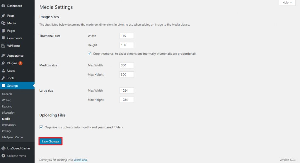 This image shows the Media Settings page where you get to change the image sizes.