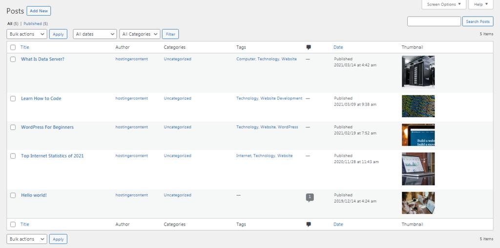 Screenshot showing featured images in WordPress post menu