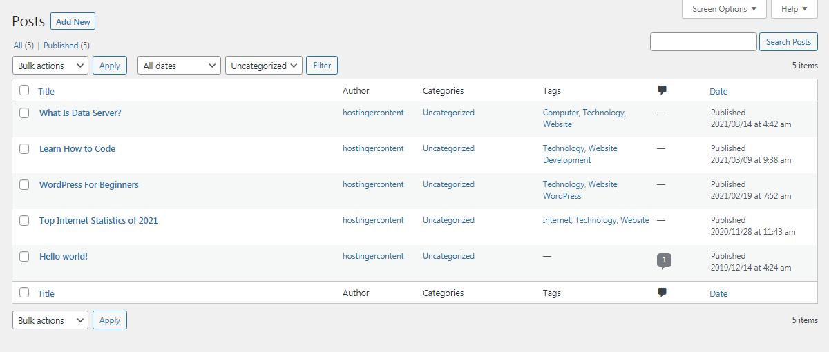 Screenshot of WordPress posts menu
