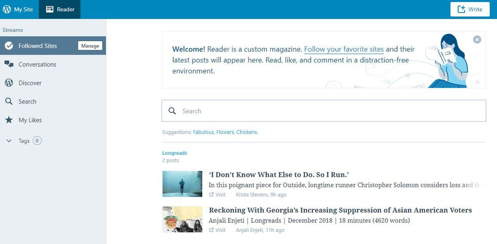 wordpress rss reader inside