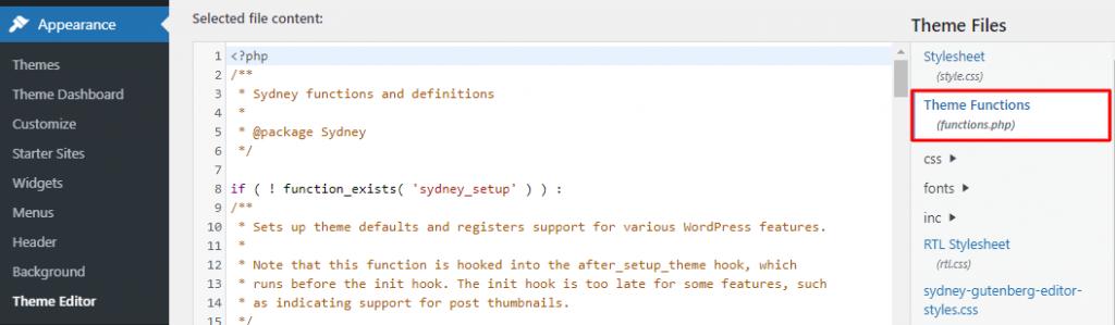 WP Theme Functions settings