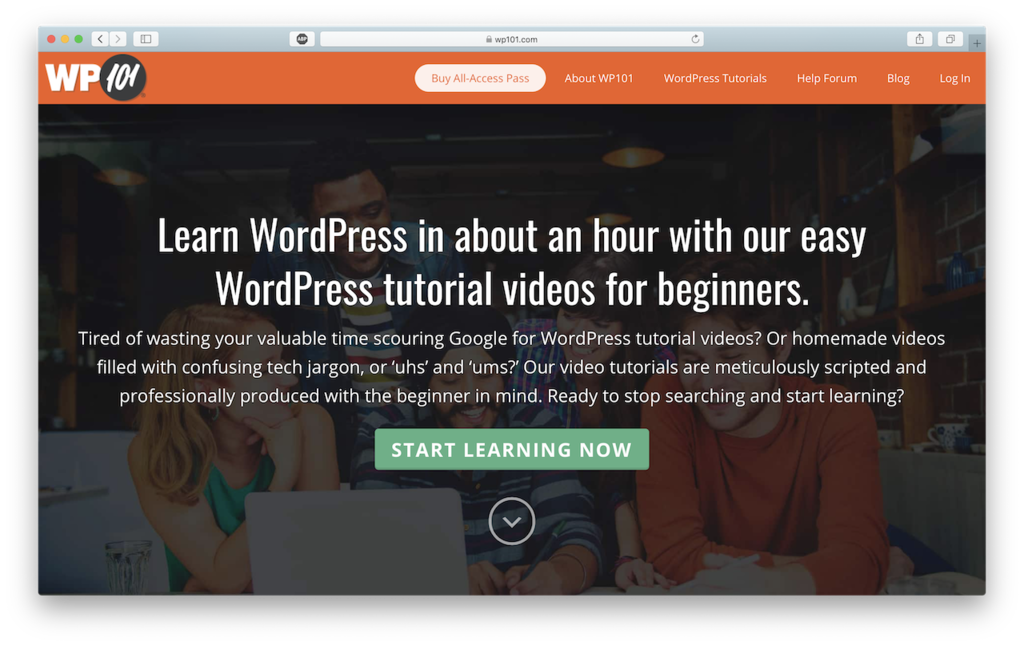 wp101 site that offers wordpress courses
