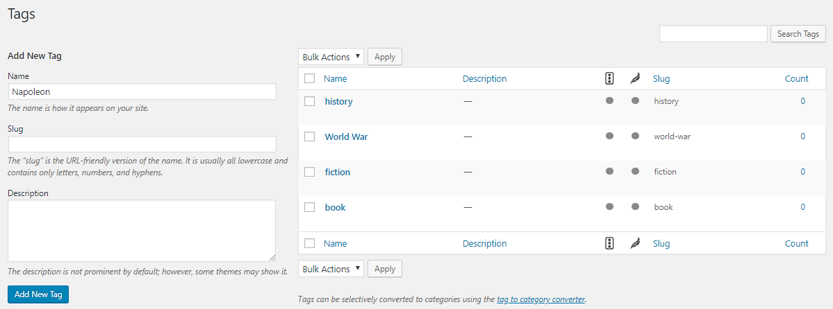 Add WordPress Tags for existing post