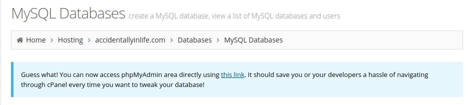 Direct link phpMyAdmin in Hostinger dashboard