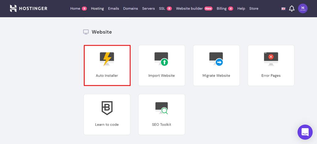 hPanel WordPress auto-installer