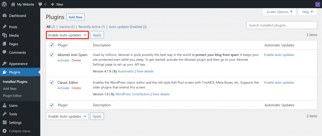 Auto-updates for plugins in bulk