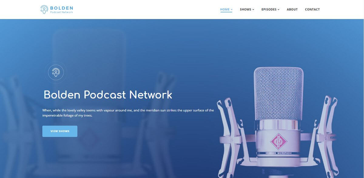 bolden podcast theme homepage