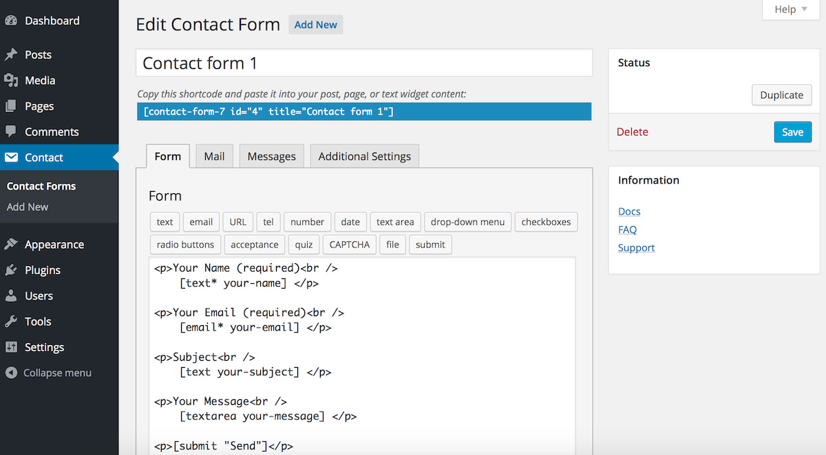 Settings Page on Contact Form 7