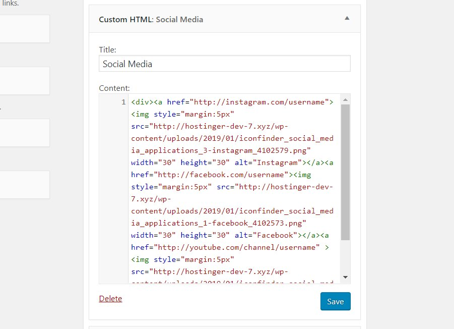 Inputting the codes for showing social media icons as Custom HTML