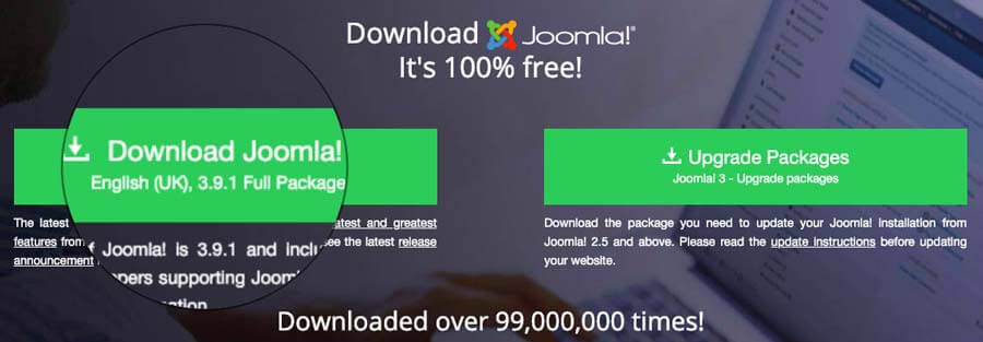 Downloading Joomla CMS installation files