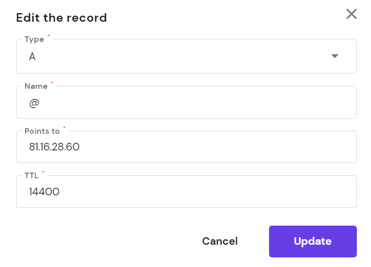 edit a record option on hpanel