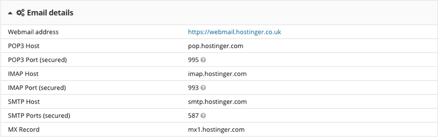 Email server details in Hostinger control panel