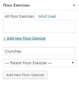 floor exercise custom categories