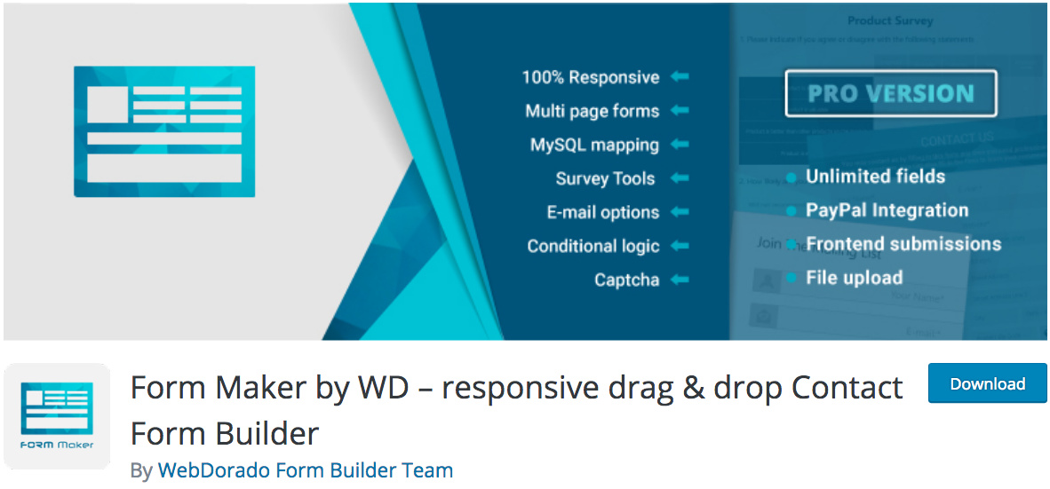 Form Maker by WD WordPress Plugin
