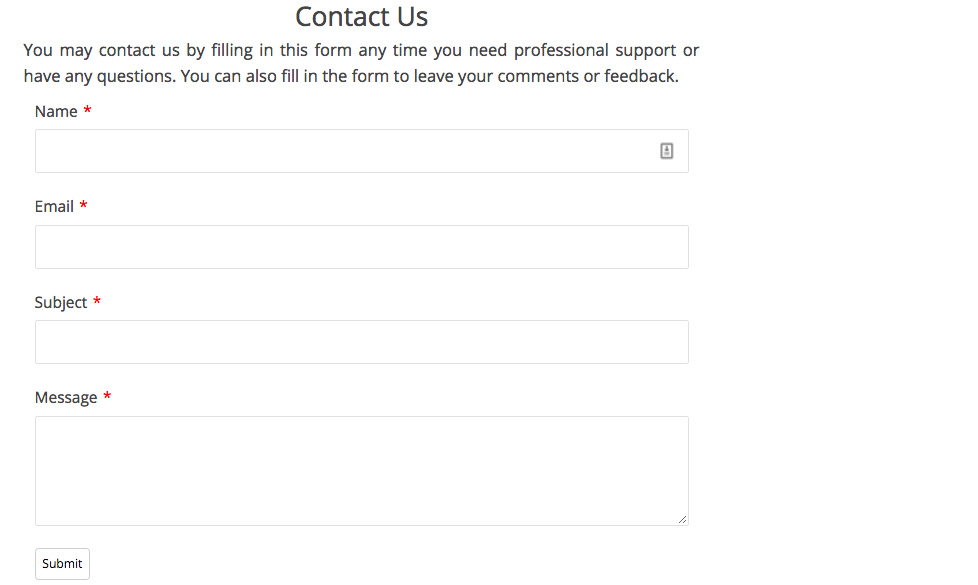 Simple Contact Form Created using Form Maker
