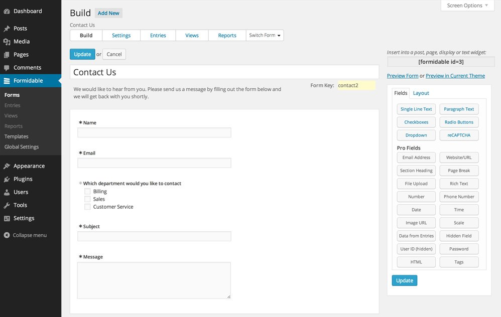 Settings Page on Formidable Form Builder