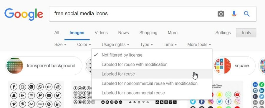 Google Search Image filtered with labeled for reuse usage rights.