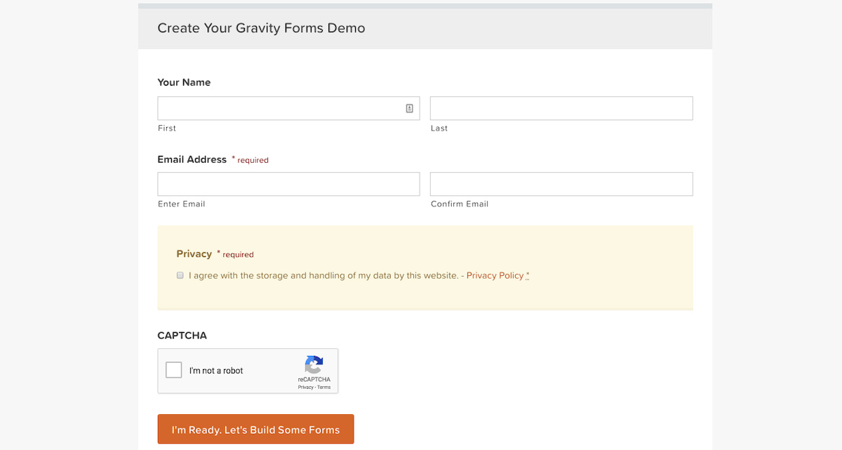 Simple Form Using Gravity Form Builder