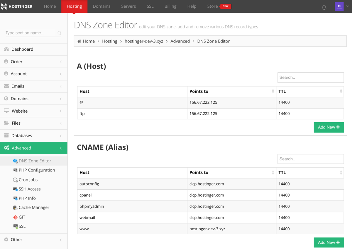 Hostinger's DNS Zone Editor section overview