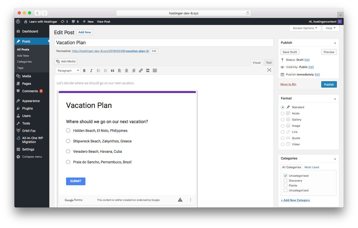 How Google Form look in Classic Visual Editor