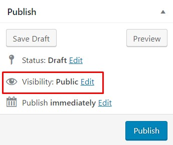 visibility option on publish module