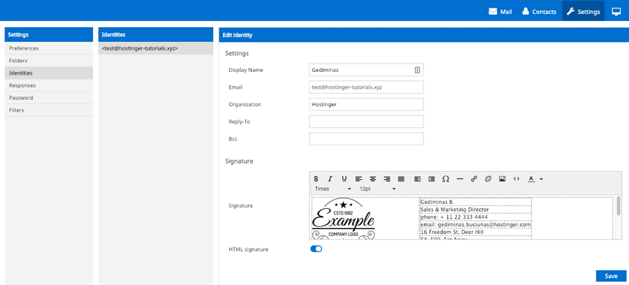 Adding an HTML email signature in Hostinger webmail