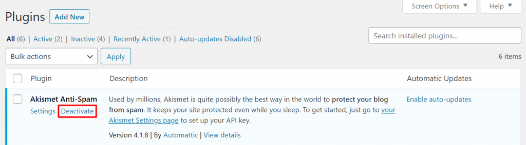 A screenshot showing the first step to deactivate wordpress plugin