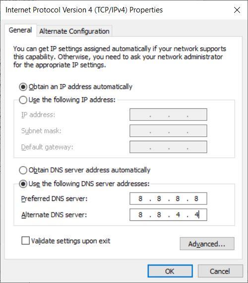 Tweaking the IPv4 settings.