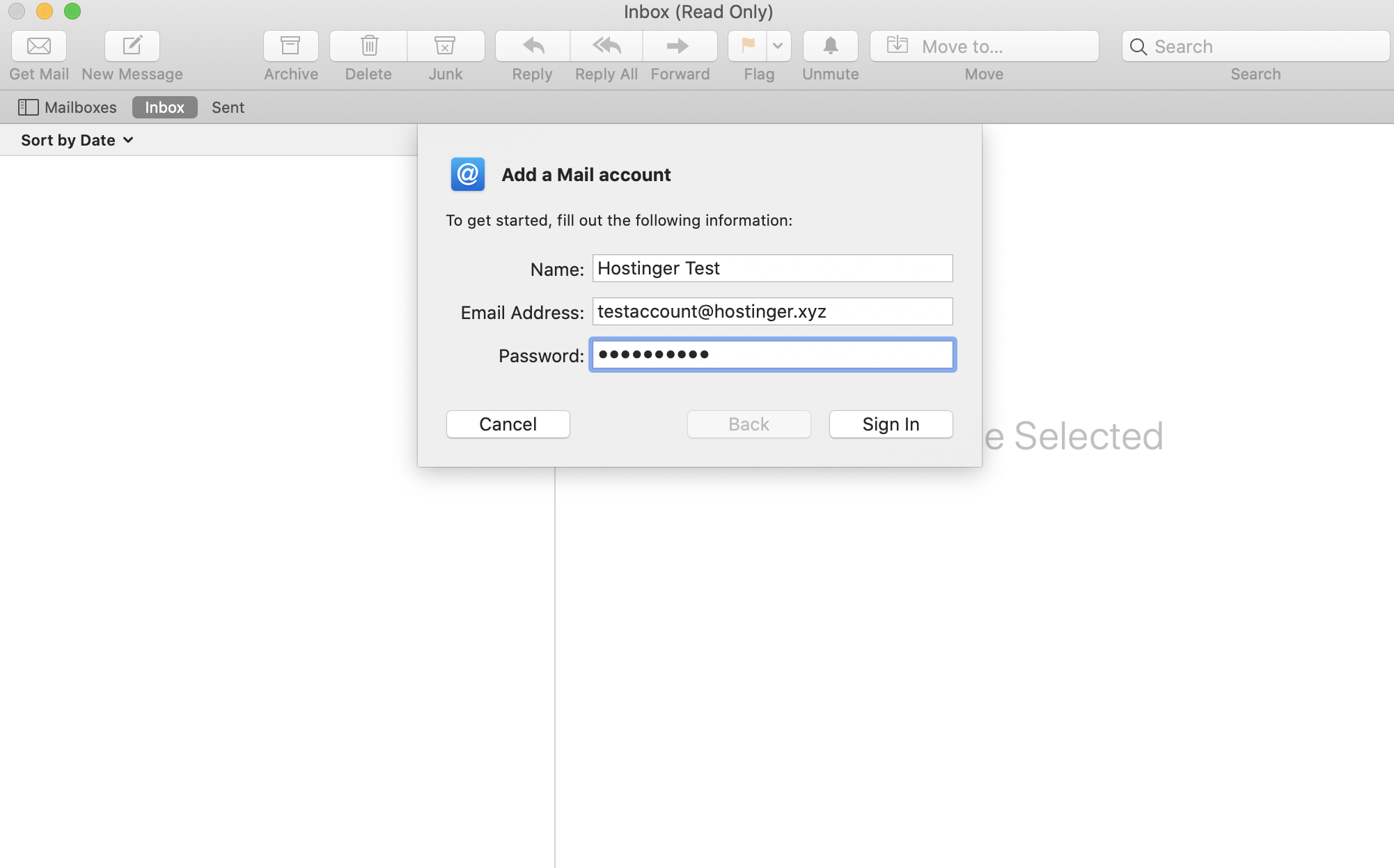 input basic details to add an email account to your Mac Mail
