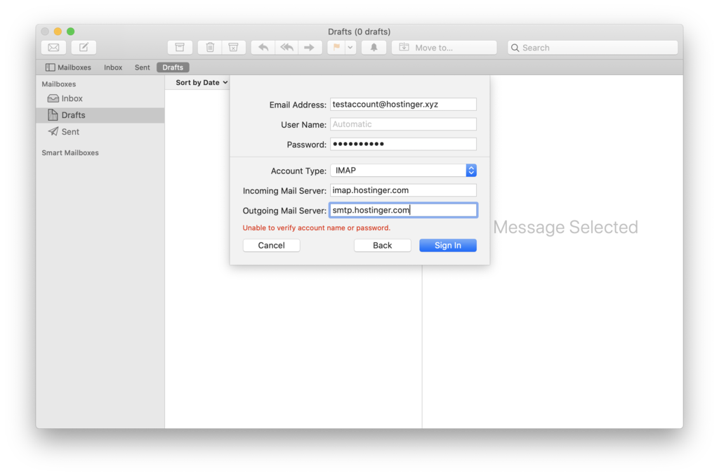 Configuring incoming and outgoing mail server values in Mac Mail client