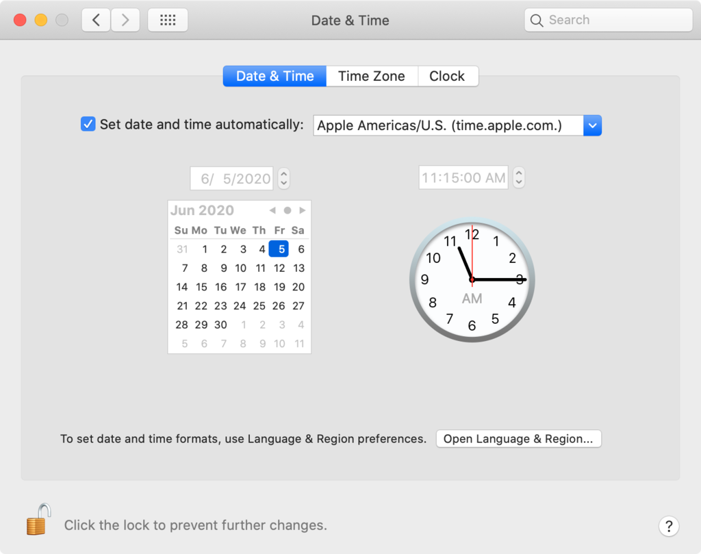 Changing date and time settings on macOS.