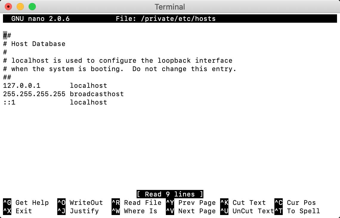 Tweaking macOS hosts file.