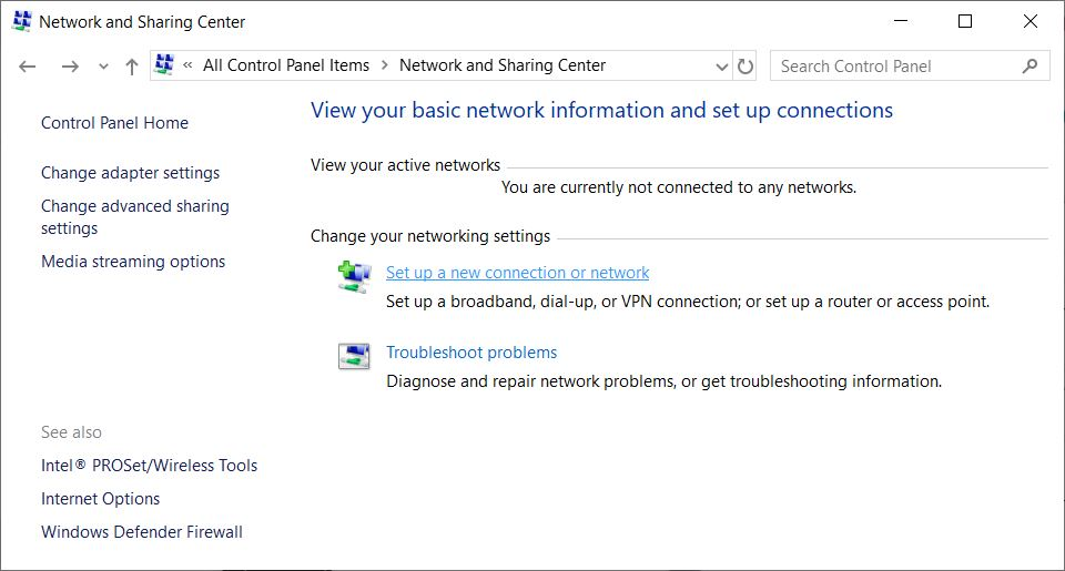 Network and Sharing Center on Windows 10.