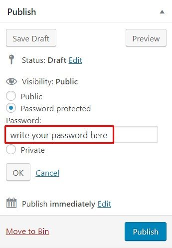option for creating password protected posts