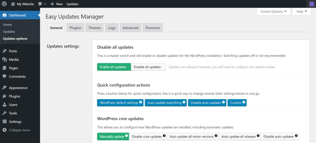 WordPress plugin settings