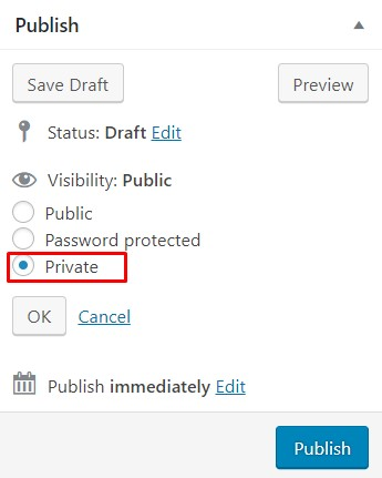 private button on publish module