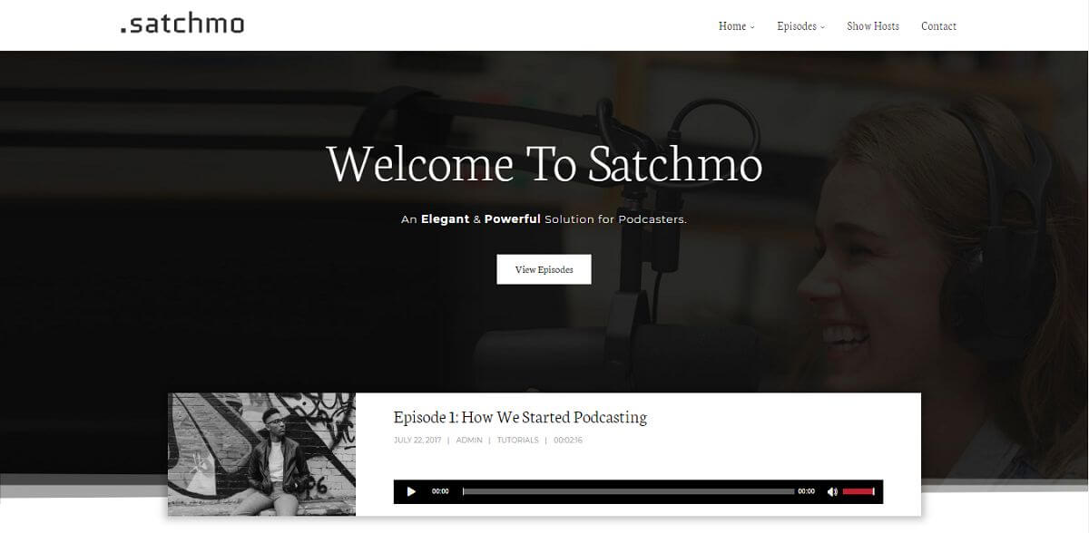 satchmo podcast theme homepage