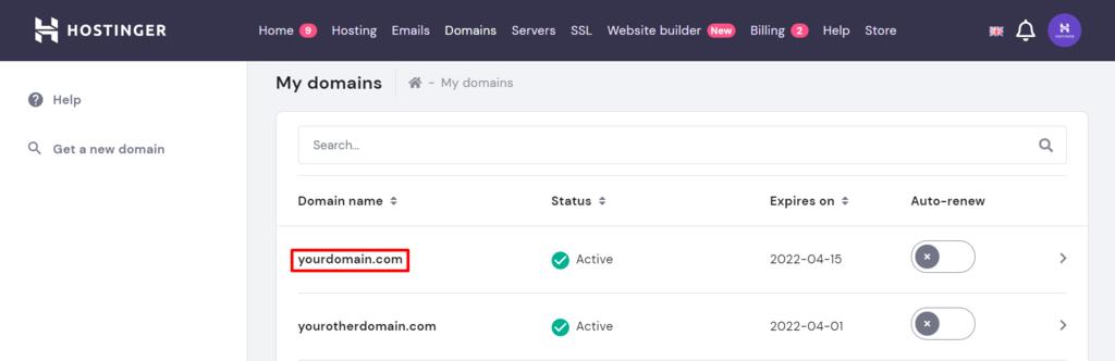 hpanel domain options