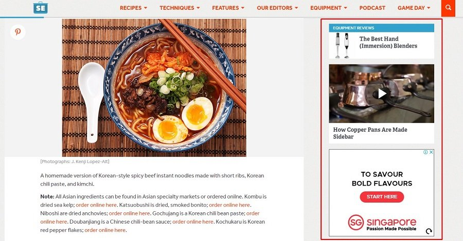 various widgets on serious eats sidebar