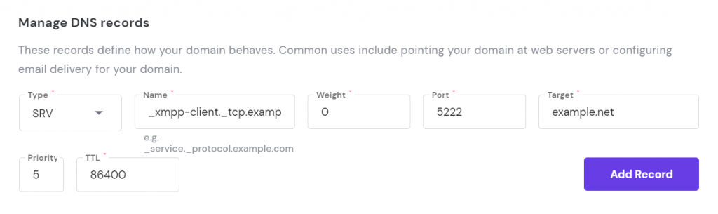 SRV record option to edit on hpanel