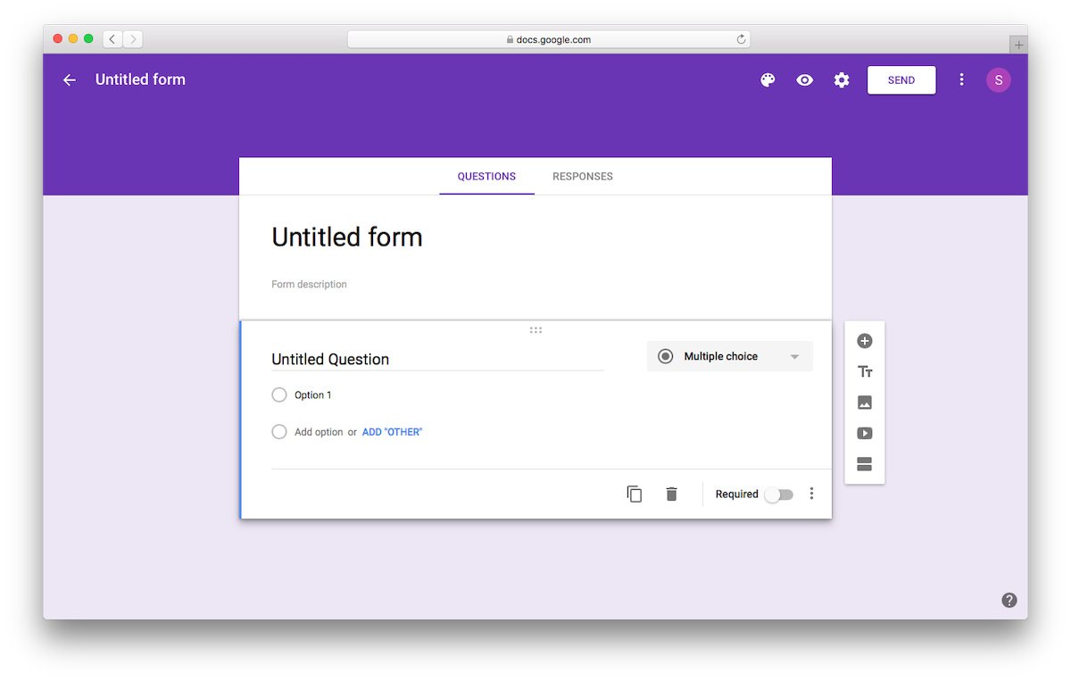 Starting with Untitled Form to Create a Google Form