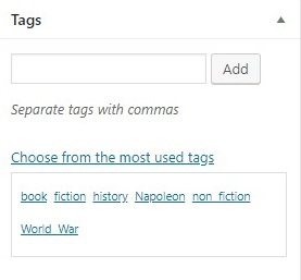 adding tags from the visual editor