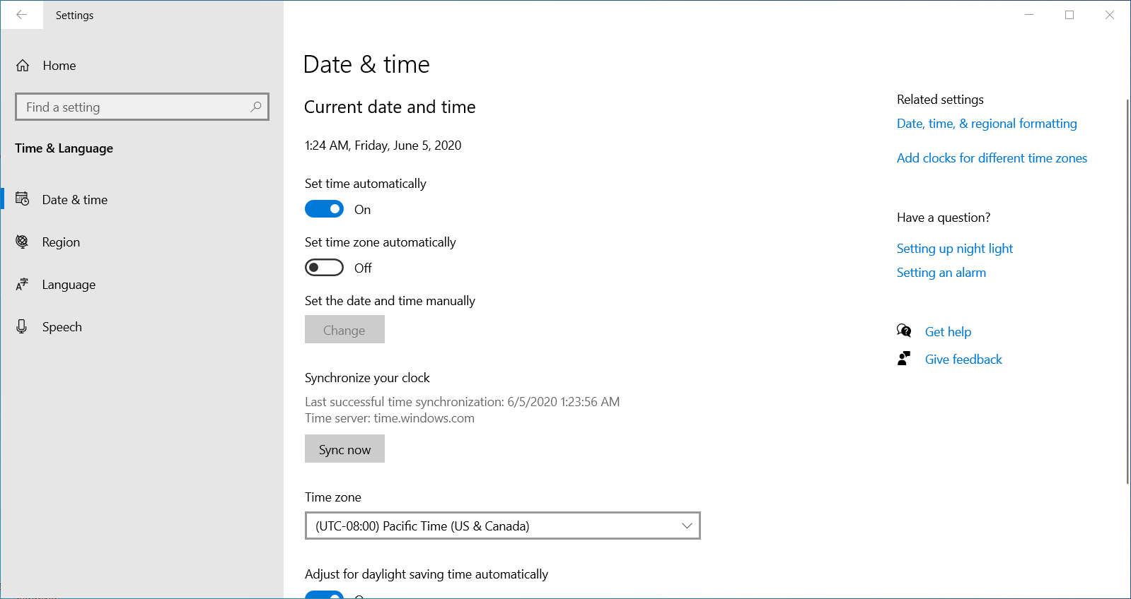 Changing time and date settings on Windows 10.