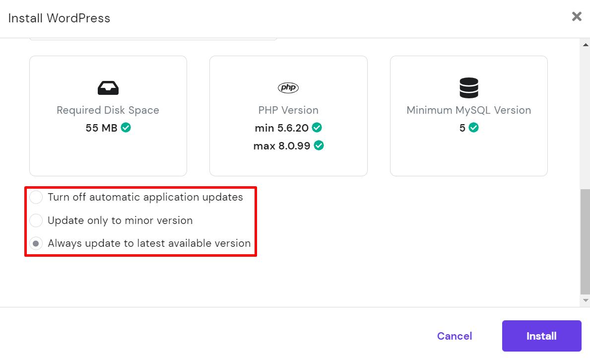 Updates settings for WordPress