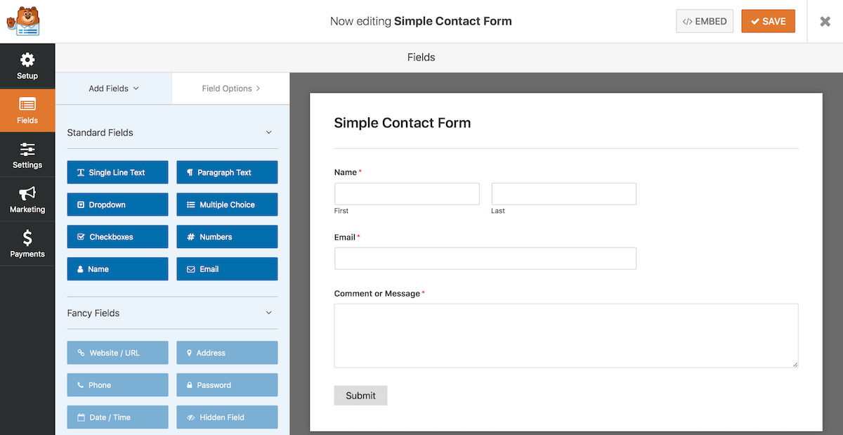 Settings Page on WP Forms