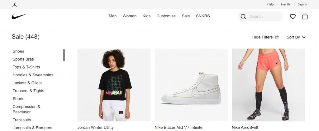 Sidebar menu on Nike website