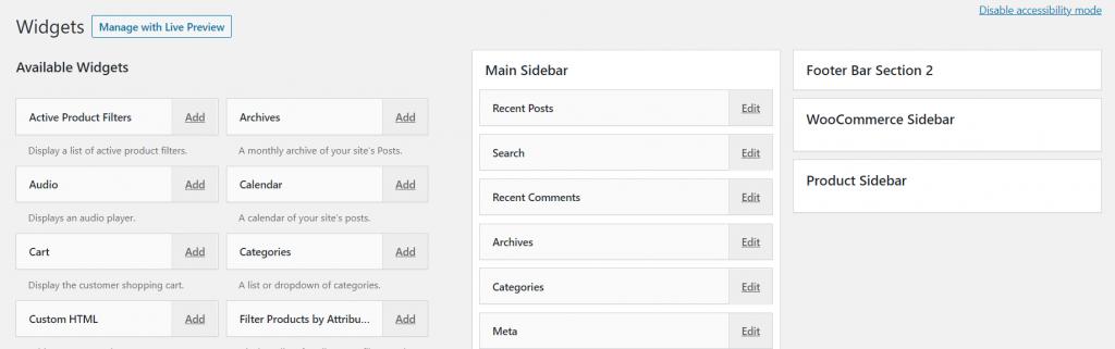 Accessibility mode widgets settings on WordPress