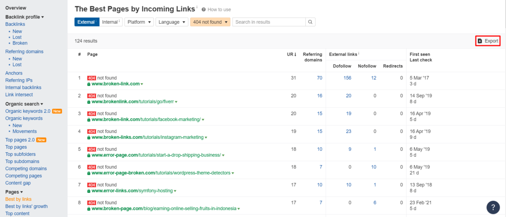 Sorting best pages by incoming links in Ahrefs.